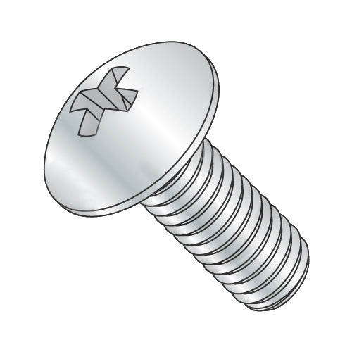 8-32 x 1/2 Phillips Truss Full Contour Machine Screw Fully Threaded Zinc-Bolt Demon