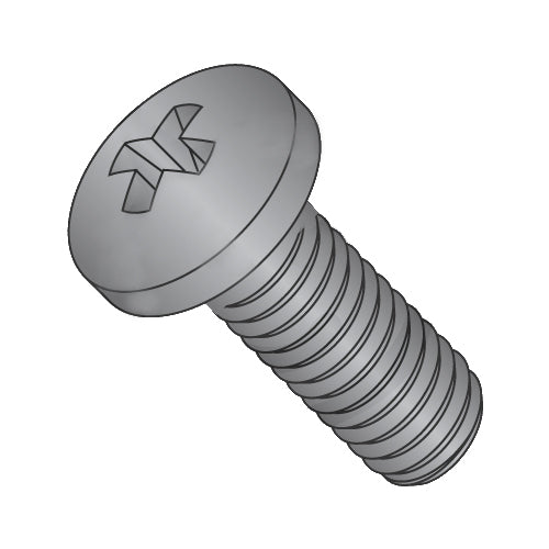 5/16-18 x 1/2 Phillips Pan Machine Screw Fully Threaded Black Zinc-Bolt Demon