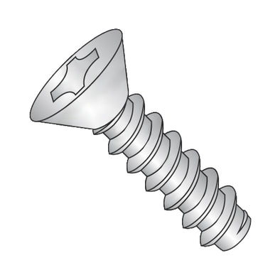 10-16 x 1 Phillips Flat Self Tapping Screw Type B Fully Threaded 18-8 Stainless Steel-Bolt Demon