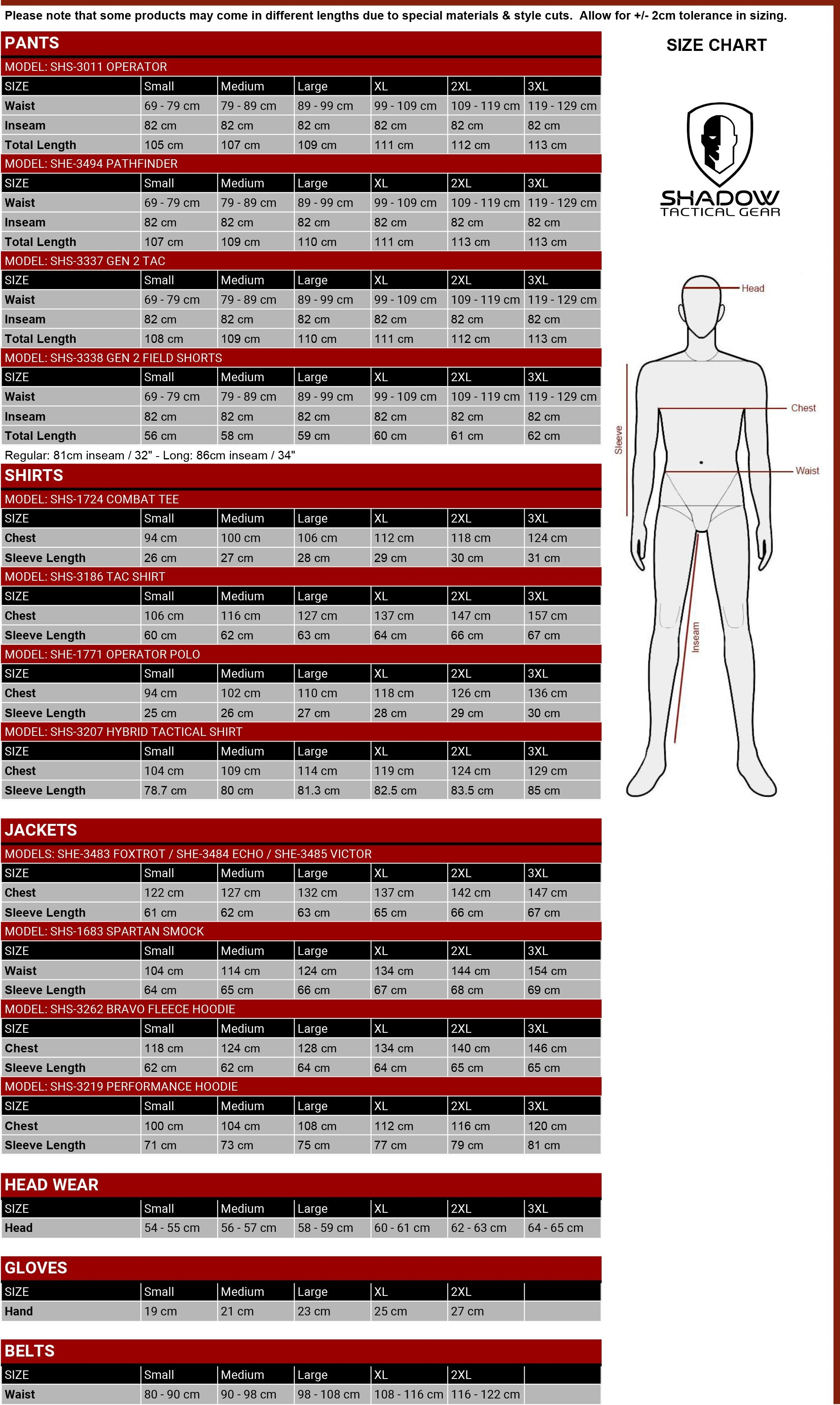 Sizing Chart - Shadow Systems