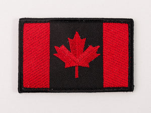 Embroidered Canada Flag (Red and Black) Patch with Velcro