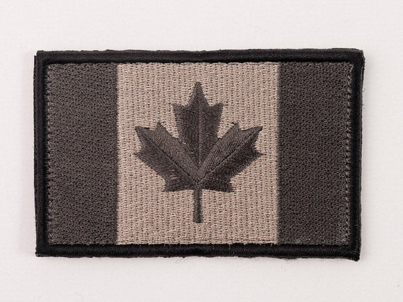 Embroidered Canada Flag (Grey,Grey Leaf) Patch with Velcro