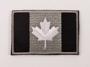 Embroidered Canada Flag (Black,White leaf) Patch with Velcro