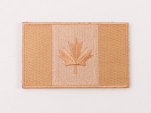 Embroidered Canada Flag (Tan) Patch with Velcro