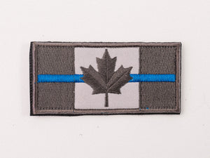 Embroidered Canada Flag (Black,Blue line) Patch with Velcro
