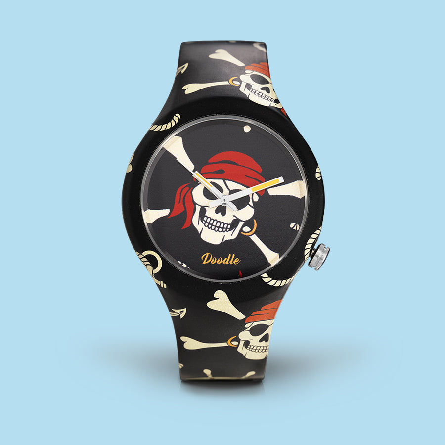 RED PIRATES SKULLS DOODLE WATCH