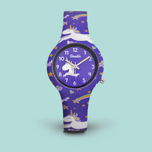 Purple Unicorn kids watch doodle