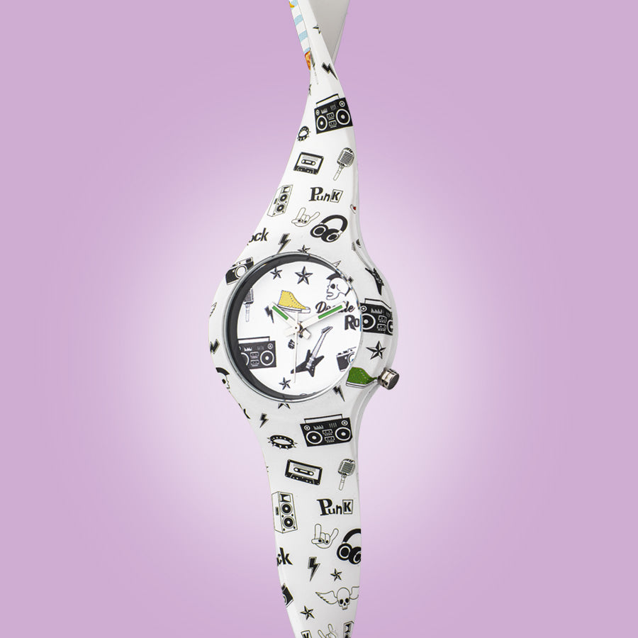 35mm 80's Rock Women's Silicon Watch by Doodle