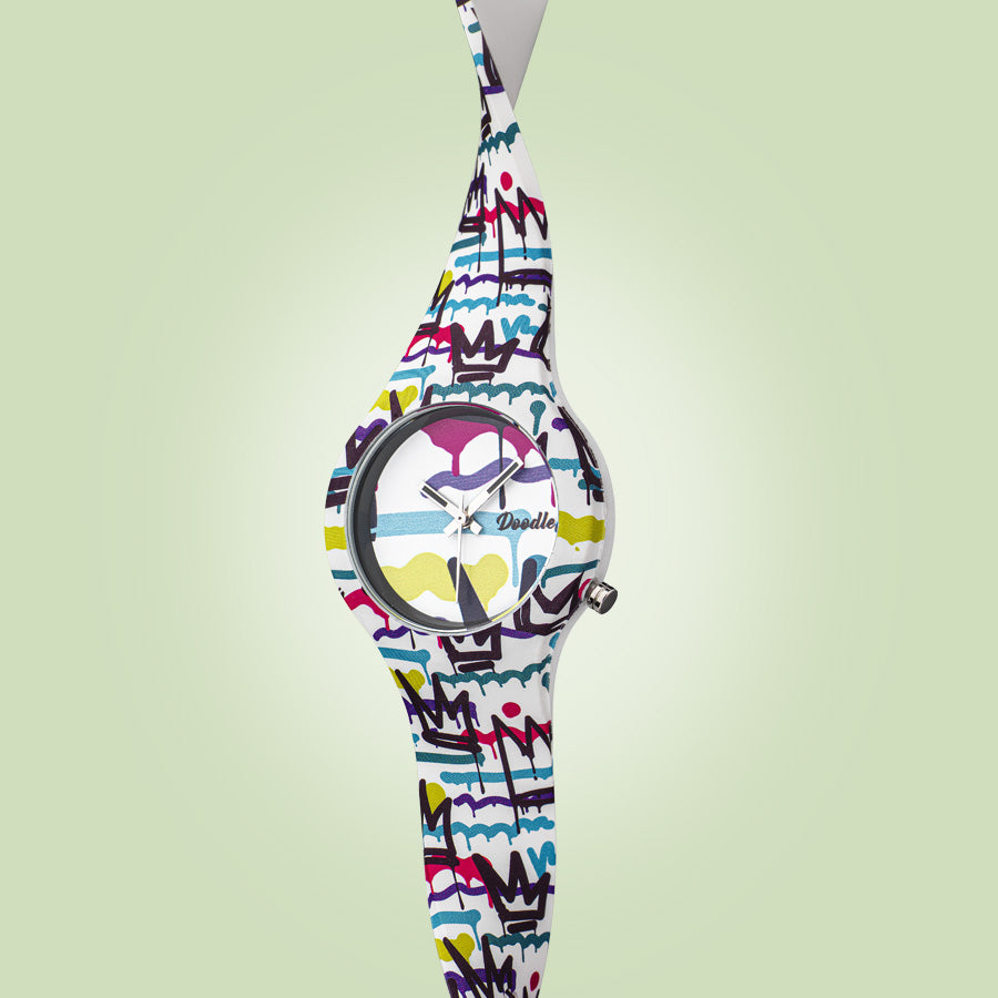 Doodle Spray Paint Women's Watch 35 mm silicon