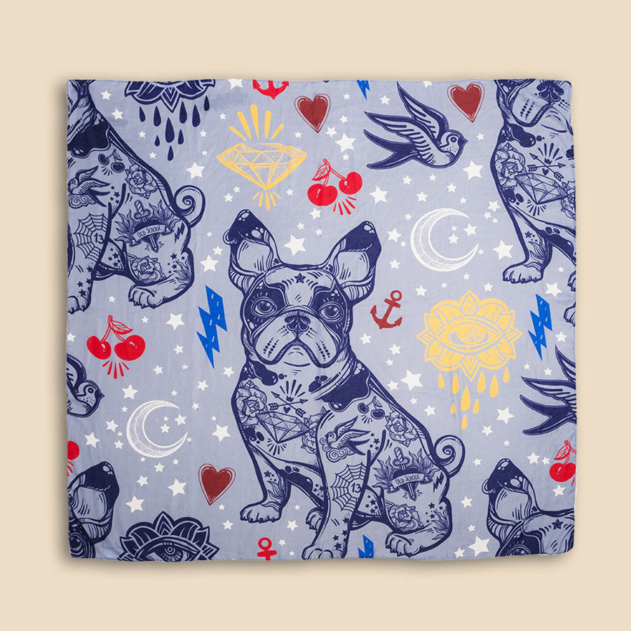 FRENCH BULLDOG DOODLE SCARF