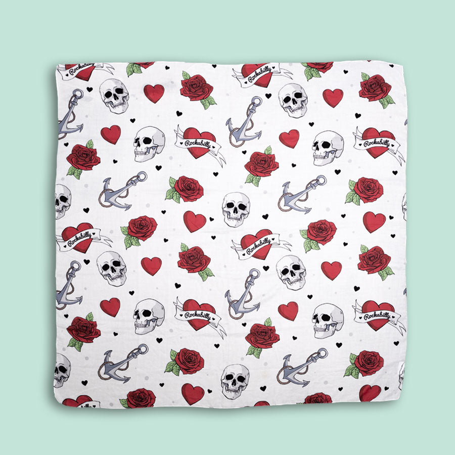 HEARTS AND SKULLS DOODLE SCARF