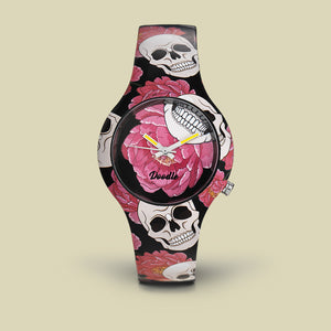 FLOWERS AND SKULLS DOODLE WATCH