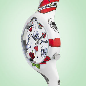 HEARTS AND SKULLS TATTOO WATCH