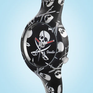 BLACK PIRATES SKULLS DOODLE WATCH