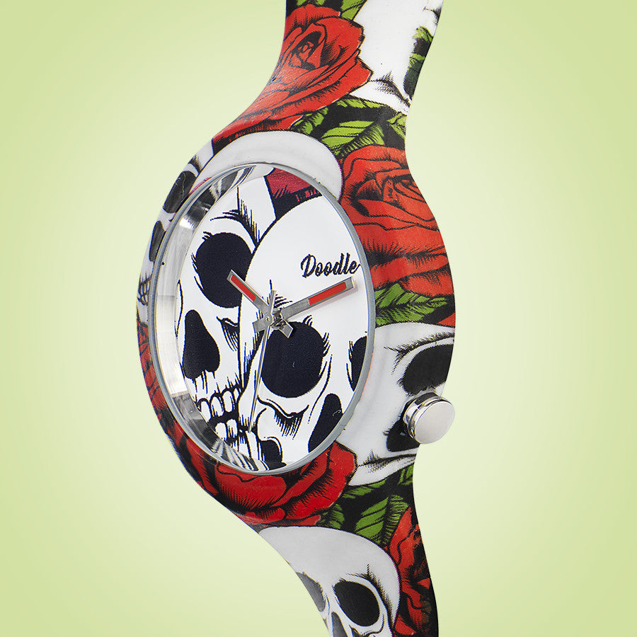 ROSES AND SKULLS DOODLE WATCH