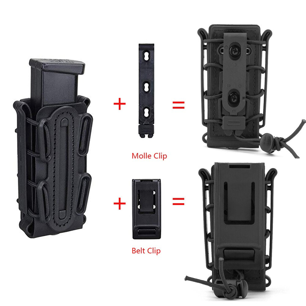 Soft Shell 9mm Pistol Mag Pouch with Belt Clip - JC Airsoft