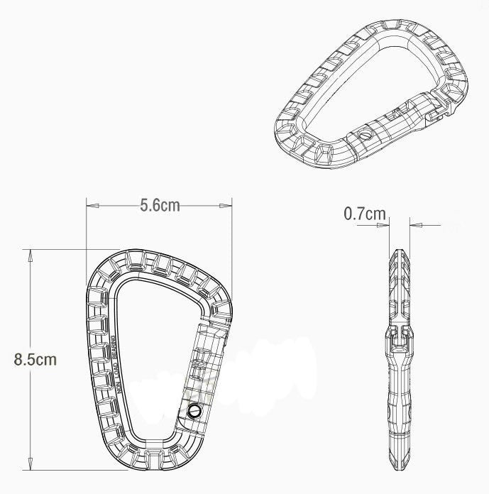 Carabiner Climb Clasp Clip Hook Hanger Quickdraw attach Mountain Webbing Web Camp Buckle Hike Hang Outdoor Bushcraft Snap molle - JC Airsoft
