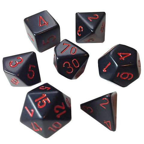 Chessex 7pcs Dice Set: Velvet - Black/Red