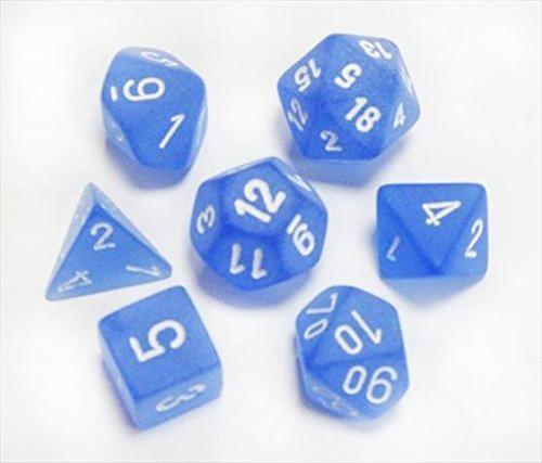 Chessex 7pcs Dice Set: Frosted - Blue/White for MtG & DnD | Wizardry Foundry