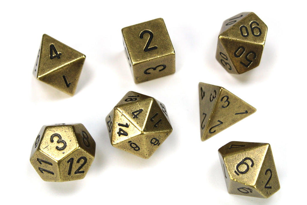 Chessex 7-Die Set Metal: Old Bronze Color