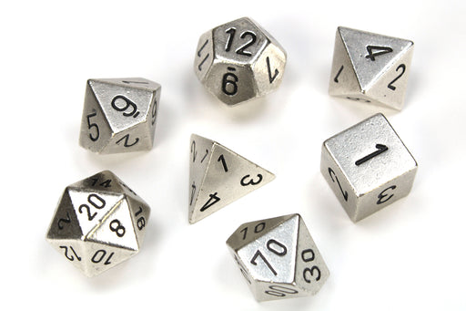 Chessex 7-Die Set Metal: Silver Color