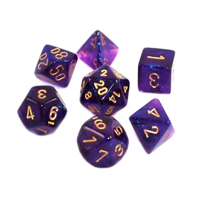 Chessex 7pcs Dice Set: Borealis - Royal Purple/Gold