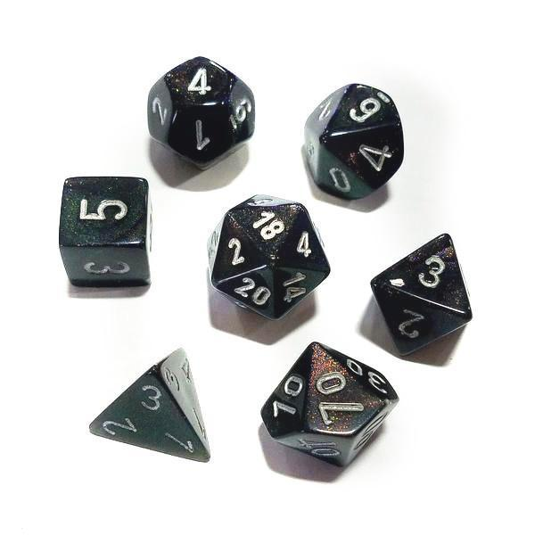 Chessex 7pcs Dice Set: Borealis - Smoke/Silver for MtG & DnD | Wizardry Foundry