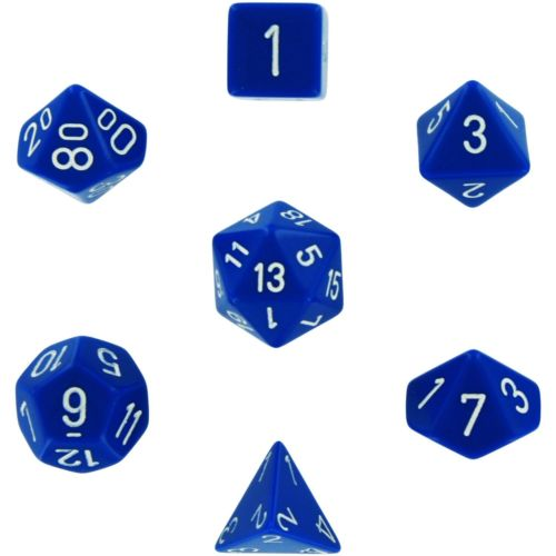 Chessex 7pcs Dice Set: Opaque Blue with White