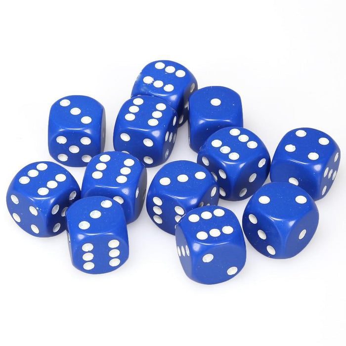 Chessex 12pcs/16mm D6 Dice Set: Opaque Blue with White