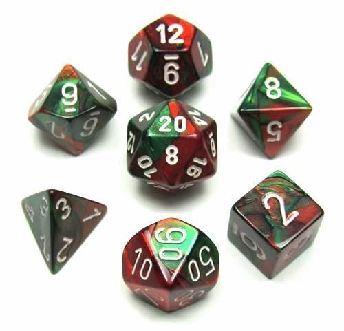Chessex 7pcs Dice Set: Gemini Green Red with White