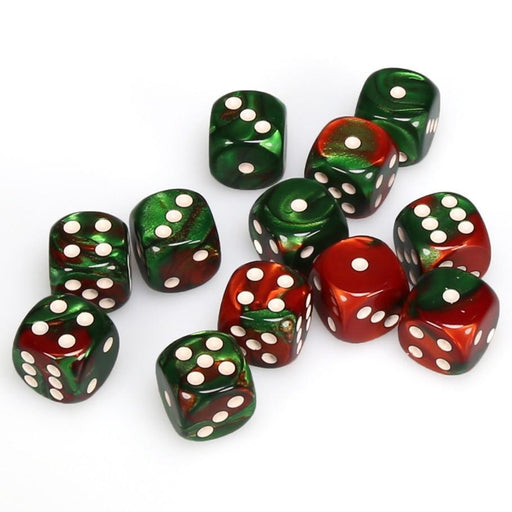 Chessex 12pcs/16mm D6 Dice Set: Gemini Red-Green/White