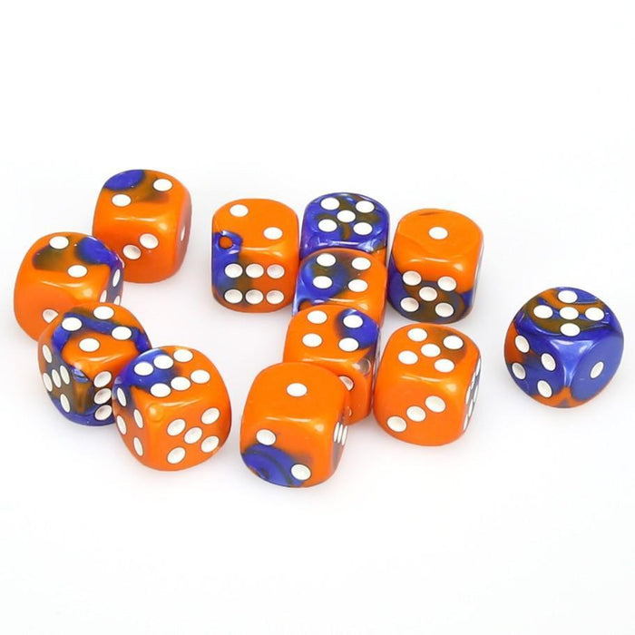 Chessex 12pcs/16mm D6 Dice Set: Gemini Blue-Orange/White
