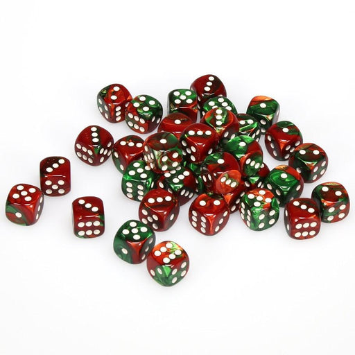 Chessex 36pcs/12mm D6 Dice Set: Gemini Green/Red