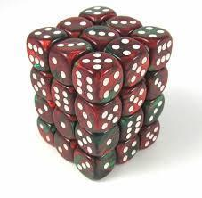 Chessex 36pcs/12mm D6 Dice Set: Gemini - Green/Red for MtG & DnD | Wizardry Foundry