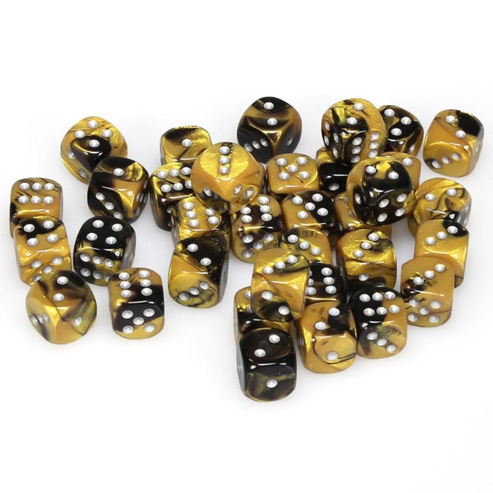 Chessex 36pcs/12mm D6 Dice Set: Gemini Black-Gold/Silver