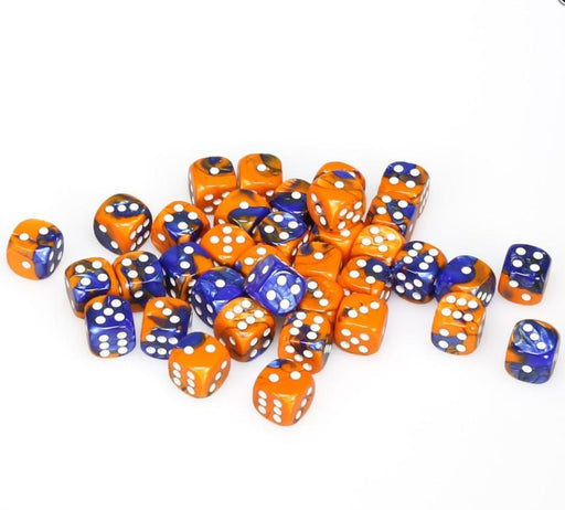 Chessex 36pcs/12mm D6 Dice Set: Gemini Blue-Orange/White