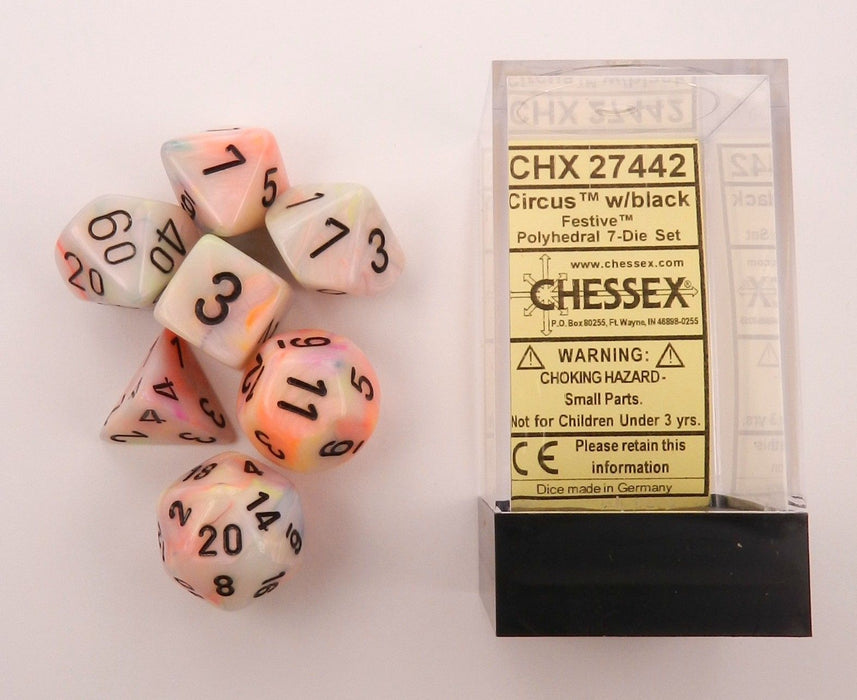 Chessex 7pcs Dice Set: Festive - Circus/Black