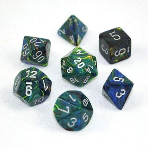 Chessex 7pcs Dice Set: Festive - Green/Silver for MtG & DnD | Wizardry Foundry