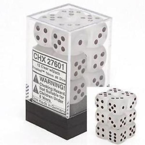 Chessex 12pcs/16mm D6 Dice Set: Frosted Clear / Black