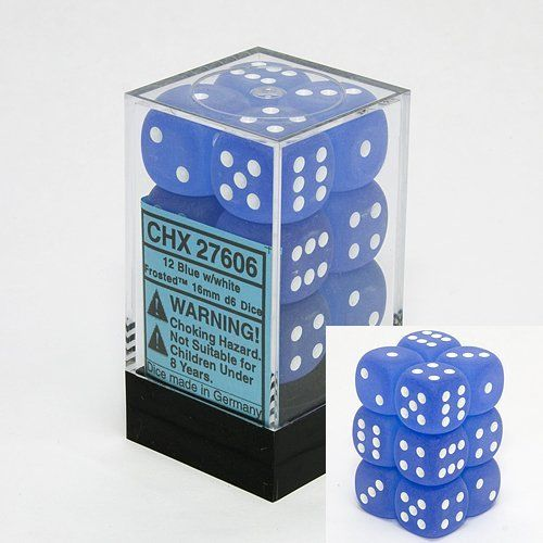 Chessex 12pcs/16mm D6 Dice Set: Frosted Blue w/ White