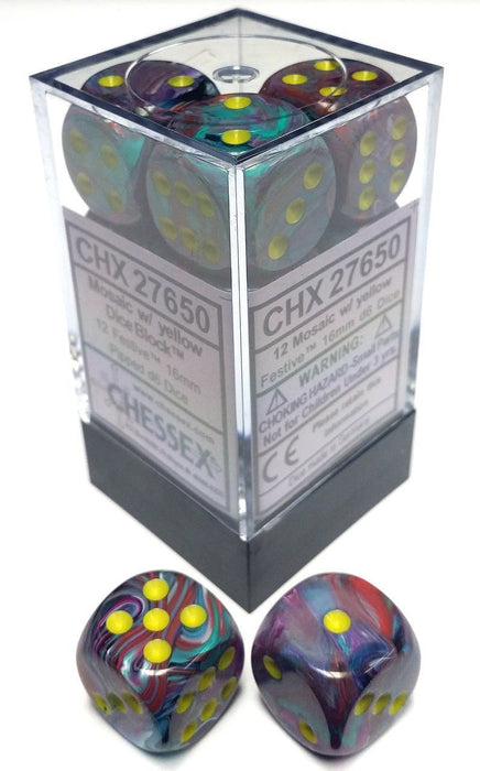 Chessex 12pcs/16mm D6 Dice Set: Festive Mosaic/Yellow
