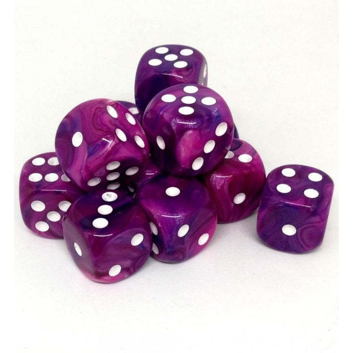 Chessex 12pcs/16mm D6 Dice Set: Festive Violet White