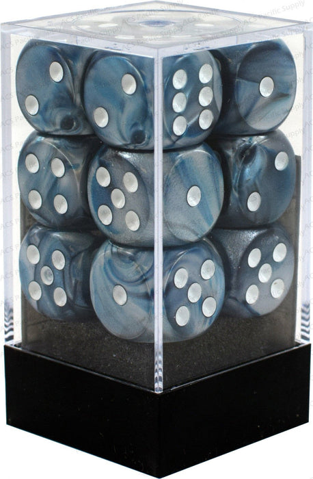 Chessex 12pcs/16mm D6 Dice Set: Lustrous Slate/White
