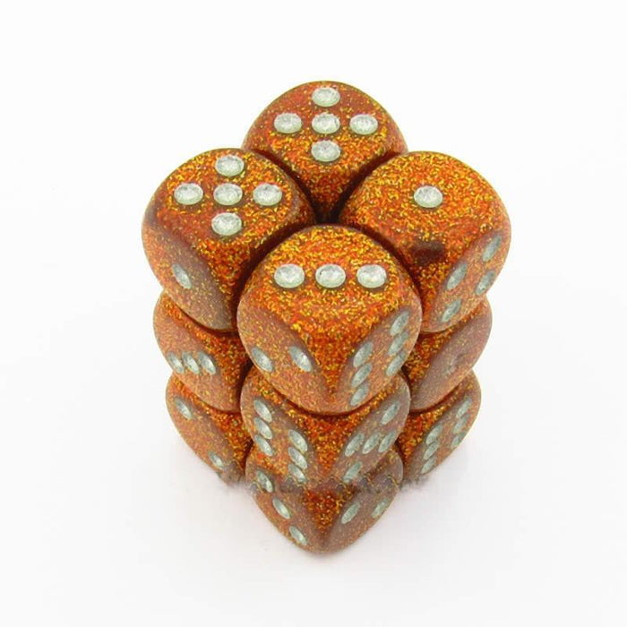 Chessex 12pcs/16mm D6 Dice Set: Glitter Gold/Silver