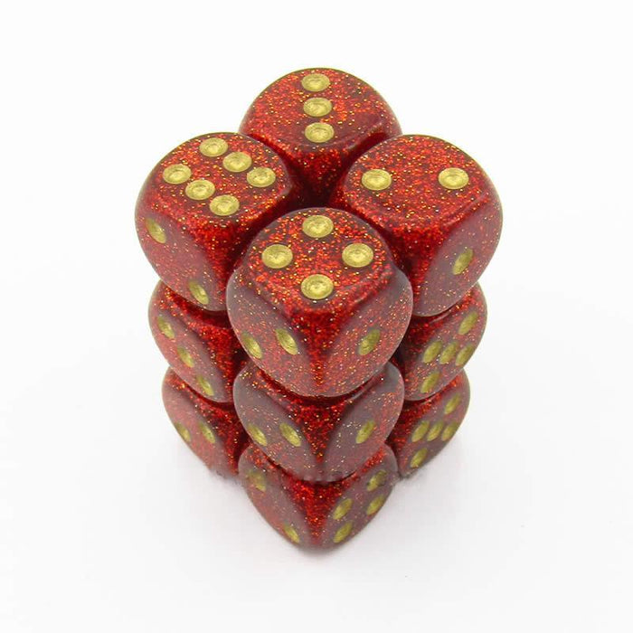 Chessex 12pcs/16mm D6 Dice Set: Glitter Ruby/Gold