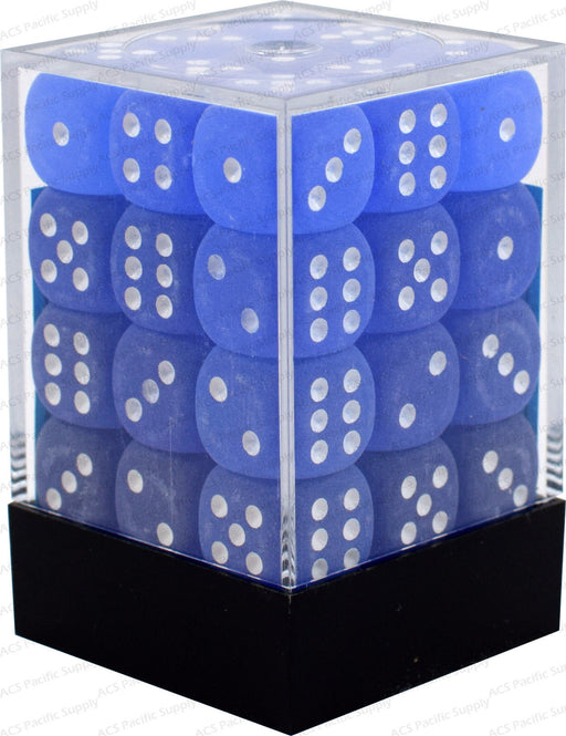 Chessex 36pcs/12mm D6 Dice Set: Frosted Blue w/ White