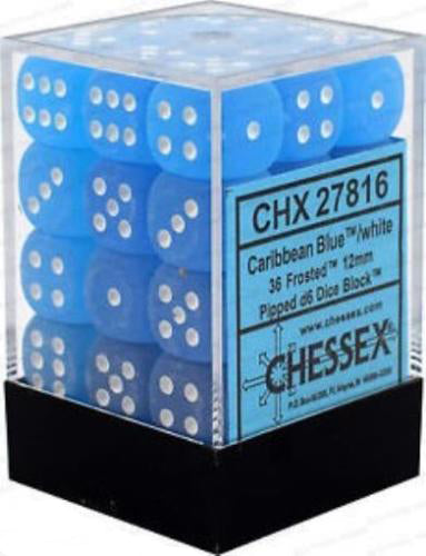 Chessex 36pcs/12mm D6 Dice Set: Frosted Caribbean Blue w/ White