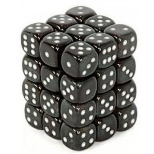Chessex 36pcs/12mm D6 Dice Set: Borealis - Smoke(Onyx)/Silver for MtG & DnD | Wizardry Foundry