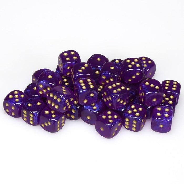 Chessex 36pcs/12mm D6 Dice Set: Borealis Royal Purple/Gold