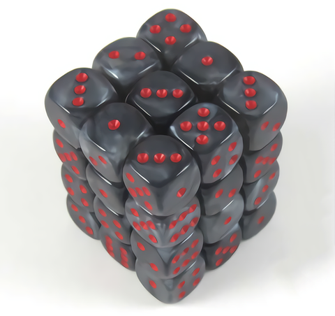 Chessex 36pcs/12mm D6 Dice Set: Velvet Black/Red